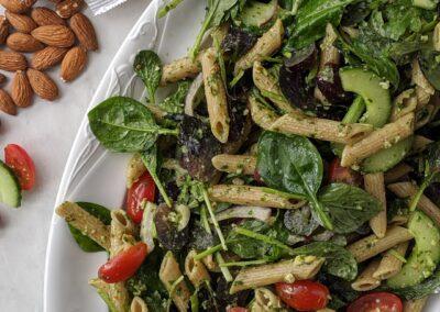Pasta Salat med Basilikums Pesto, Vindruer & Rucola
