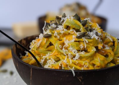 Fettuccini M. græskar creme m. Revet Parmesan & Græskarkerner